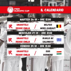 """Europe Cup, Reggio Emilia debutterà nella """"bolla"""" contro i belgi del Mons-Hainaut"""
