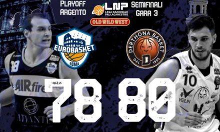 Tortona sconfigge l'Eurobasket Roma 78-80 a Ferentino e si porta avanti 2-1 nella serie